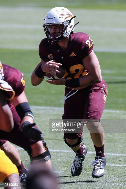 Arizona State Sun Devils running back Deonce Elliott runs the ball during the college football spring scrimmage of the Arizona State Sun Devils on...