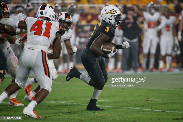 Arizona State Sun Devils running back Eno Benjamin breaks free for a touchdown run during the college football game between the Oregon State Beavers...