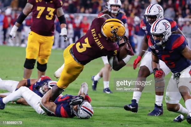Arizona State Sun Devils running back Eno Benjamin dives for the end zone during the college football game between the Arizona Wildcats and the...