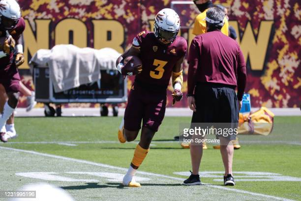 Arizona State Sun Devils running back Rachaad White runs the ball during the college football spring scrimmage of the Arizona State Sun Devils on...