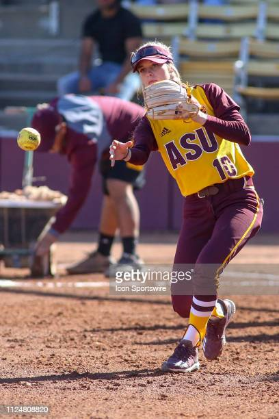 Arizona State Sun Devils second baseman Bella Loomis throws the ball during the a college softball game between the CSUN Matadors and the Arizona...