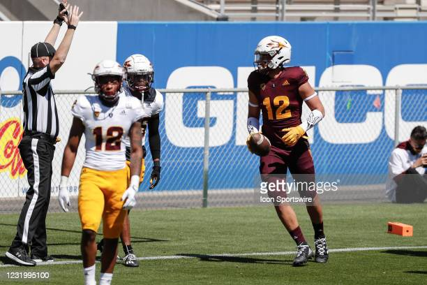 Arizona State Sun Devils tight end Jalin Conyers looks to the referee after catching a touchdown pass during the college football spring scrimmage of...