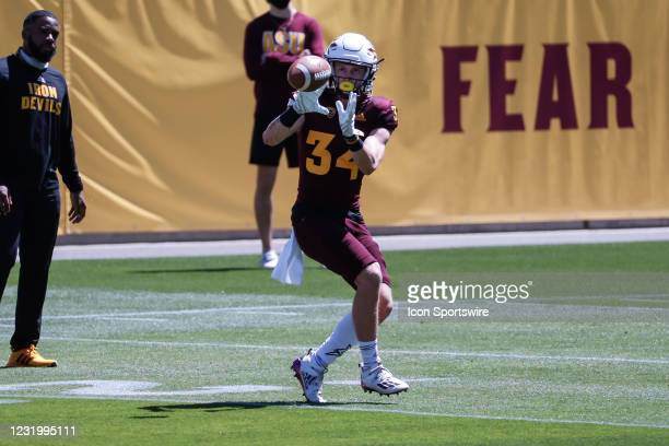 Arizona State Sun Devils wide receiver Cade Cadam catches a pass during the college football spring scrimmage of the Arizona State Sun Devils on...