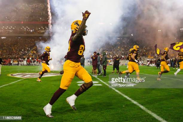 Arizona State Sun Devils wide receiver Frank Darby jogs onto the field before the college football game between the Arizona Wildcats and the Arizona...