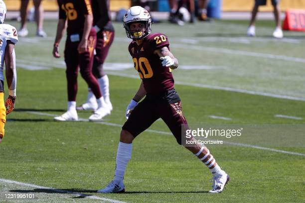 Arizona State Sun Devils wide receiver Giovanni Sanders points the the referee during the college football spring scrimmage of the Arizona State Sun...