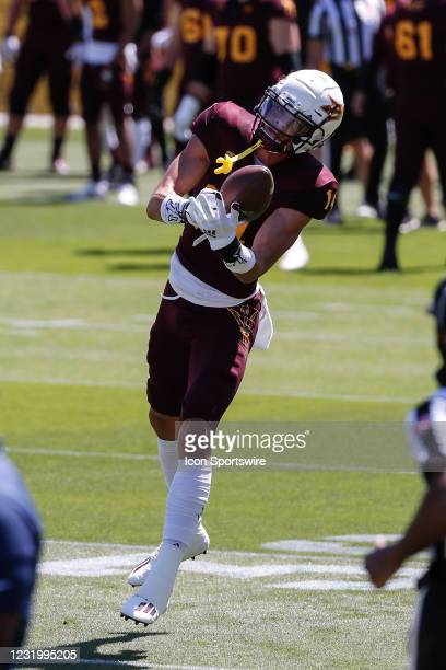 Arizona State Sun Devils wide receiver Johnny Wilson catches a pass during the college football spring scrimmage of the Arizona State Sun Devils on...