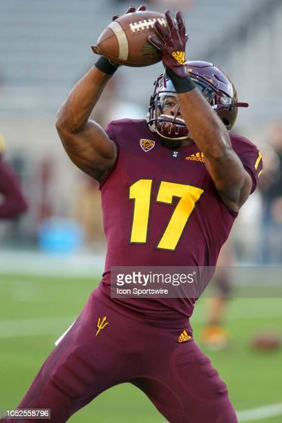 Arizona State Sun Devils wide receiver Ryan Newsome warms up before a college football game between the Arizona State Sun Devils and the Stanford...