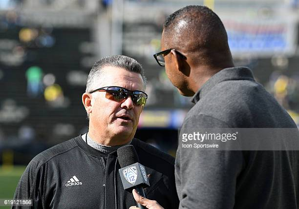 Arizona State University Head Coach Todd Graham is interviewed by the PAC12 Network prior to the start of the game during a PAC12 NCAA football game...