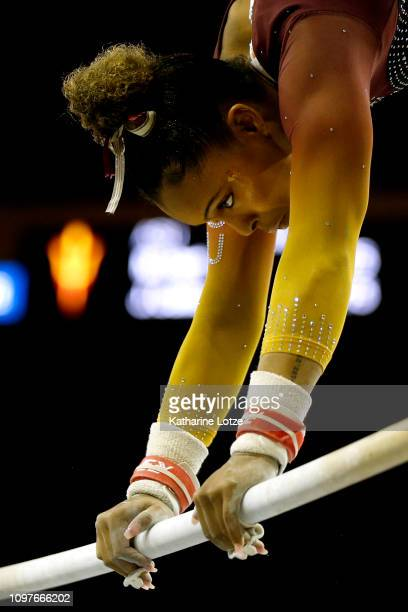 Arizona State's Cairo Leonard-Baker competes in the uneven bars during a PAC-12 meet against UCLA at Pauley Pavilion on January 21, 2019 in Los...