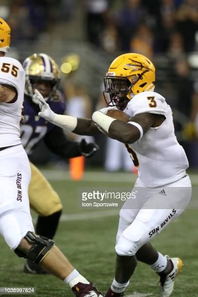 Arizona State's Eno Benjamin cuts up field during the college football game between the Washington Huskies and the Arizona State Sun Devils on...
