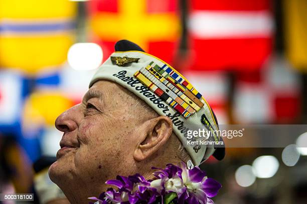 S Arizona Survivor Lou Conter waits for the start of a memorial service marking the 74th Anniversary of the attack on the US naval base at Pearl...