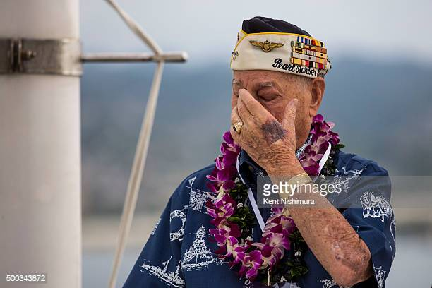 S Arizona Survivor Louis Conter attends a memorial service marking the 74th Anniversary of the attack on the US naval base at Pearl Harbor on the...