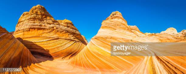 arizona the wave iconic desert strata coyote buttes wilderness panorama - the wave coyote buttes stock pictures, royalty-free photos & images