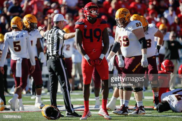 Arizona Wildcats defensive end Jalen Harris celebrates a big play during the college football game between the Arizona State Sun Devils and the...