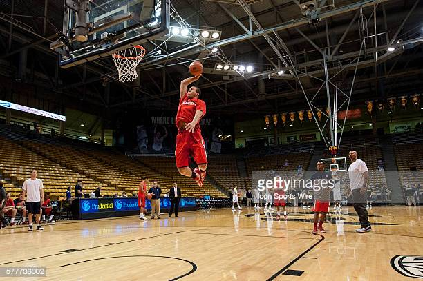 Arizona Wildcats forward Aaron Gordon warms up and throws a big slam dunk during a regular season PAC 12 Conference NCAA Men's Basketball game game...