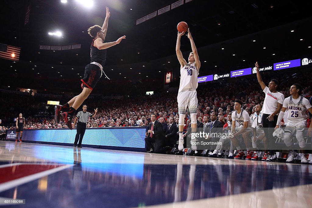 Arizona Wildcats forward Lauri Markkanen (10) shoots a three pointer during the second half of the NCAA college basketball game against the Utah Utes at McKale Center on January 5, 2017 in Tucson, Arizona. The Arizona Wildcats beat the Utah Utes 66-56.