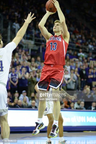Arizona Wildcats forward Stone Gettings shoots during a PAC12 Conference game between the University of Arizona Wildcats and the University of...
