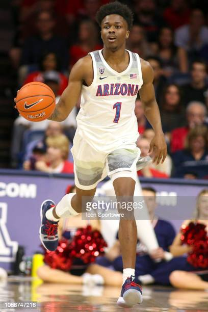Arizona Wildcats guard Devonaire Doutrive dribbles the ball during the a college basketball game between the Oregon State Beavers and the Arizona...
