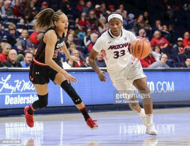 Arizona Wildcats guard JaLea Bennett dribbles the ball past Utah Utes guard/forward Daneesha Provo during a college women's basketball game between...