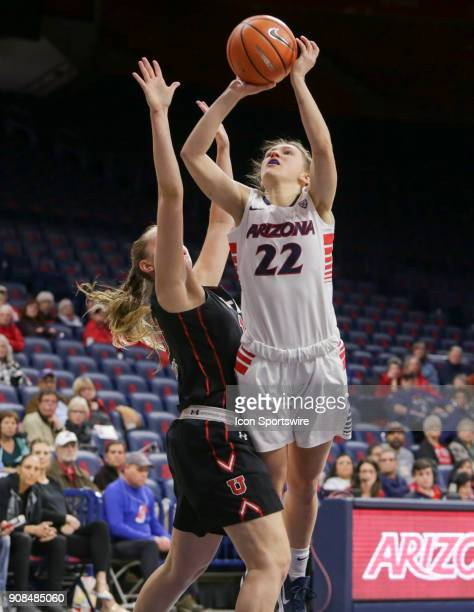 Arizona Wildcats guard Lindsey Malecha shoots the ball during a college women's basketball game between Utah Utes and Arizona Wildcats on January 21...