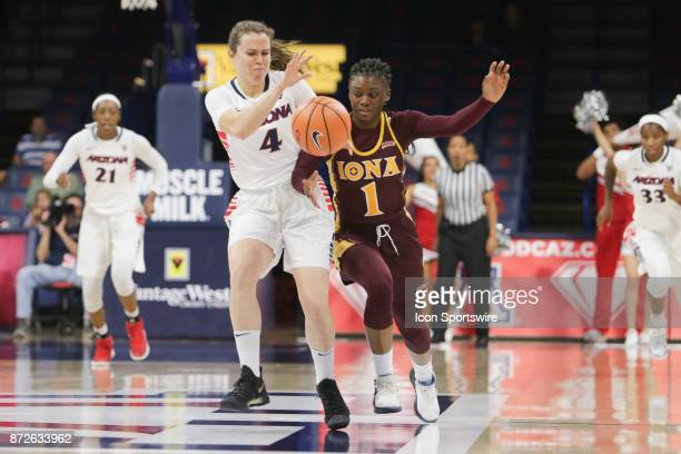 Arizona Wildcats guard Lucia Alonso and Iona Gaels guard Toyosi Abiola fight for the ball during the a college women's basketball game between Iona...