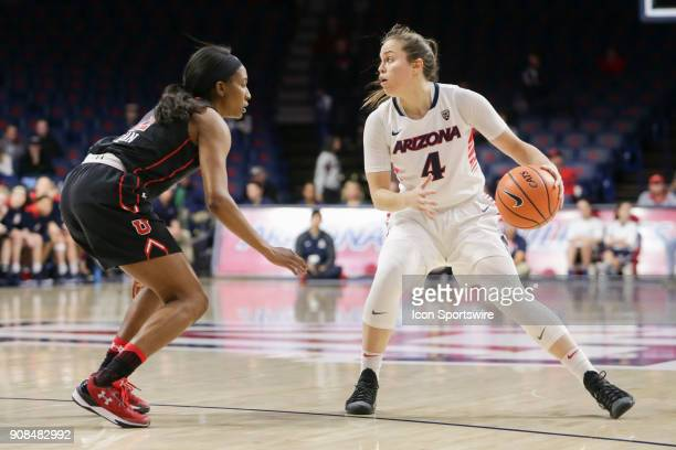 Arizona Wildcats guard Lucia Alonso dribbles the ball during a college women's basketball game between Utah Utes and Arizona Wildcats on January 21...