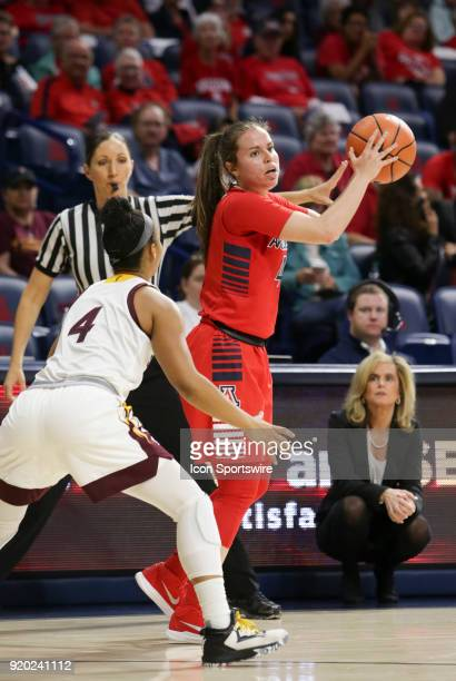 Arizona Wildcats guard Lucia Alonso looks for a teammate to pass the ball to during the a college women's basketball game between Arizona State Sun...