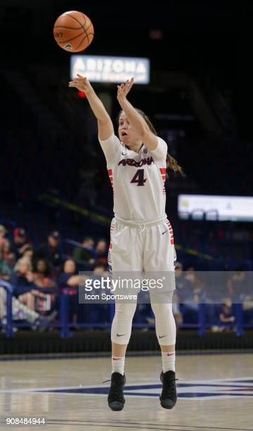 Arizona Wildcats guard Lucia Alonso shoots the ball during a college women's basketball game between Utah Utes and Arizona Wildcats on January 21 at...