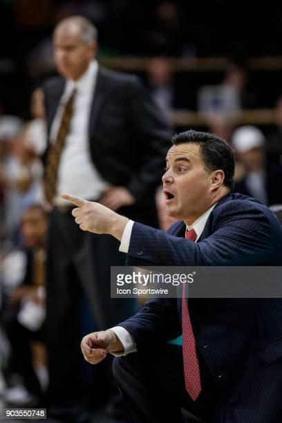 Arizona Wildcat's head basketball coach Sean Miller coaches during their regular season PAC12 basketball game against Colorado on January 06 2018 at...