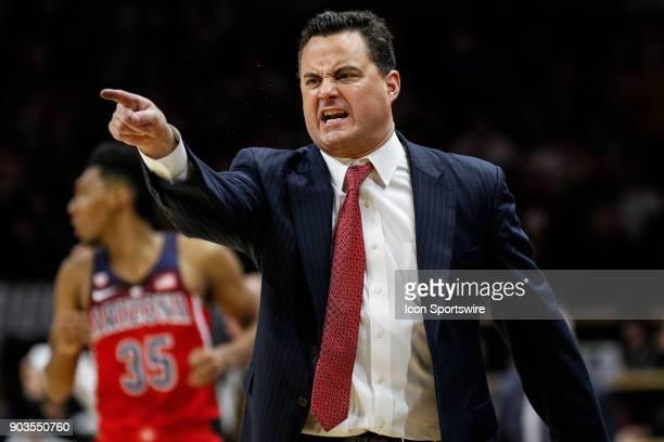 Arizona Wildcat's head basketball coach Sean Miller questions a call during their regular season PAC12 basketball game against Colorado on January 06...
