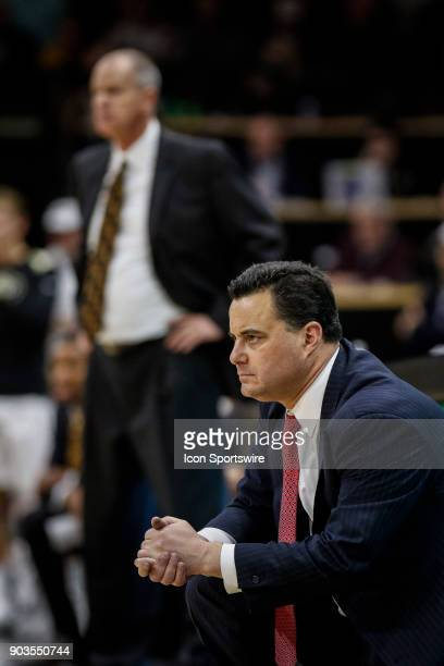 Arizona Wildcat's head basketball coach Sean Miller watches his team play during their regular season PAC12 basketball game against Colorado on...