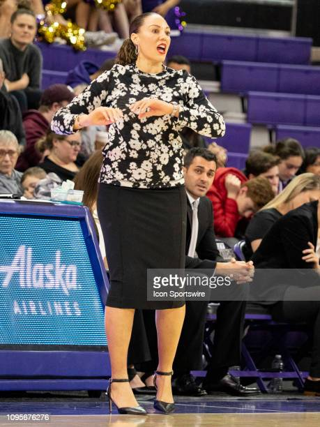 Arizona Wildcats head coach Adia Barnes reacts to a call during a college basketball game between the Arizona Wildcats against the Washington Huskies...