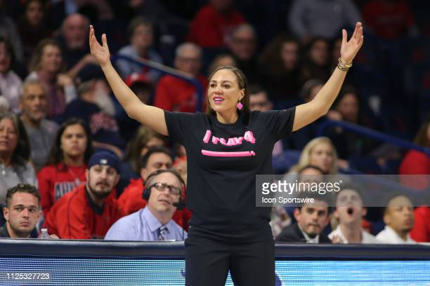 Arizona Wildcats head coach Adia Barnes reacts to a fool call during a college women's basketball game between the Utah Utes and the Arizona Wildcats...