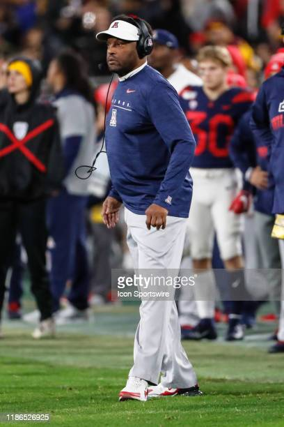 Arizona Wildcats head coach Kevin Sumlin looks on during the college football game between the Arizona Wildcats and the Arizona State Sun Devils on...