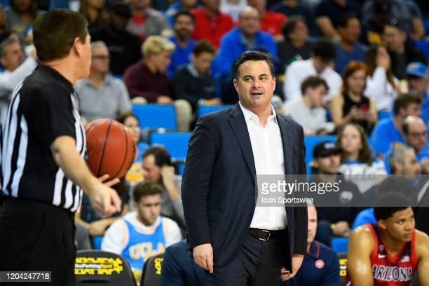 Arizona Wildcats head coach Sean Miller argues with Official Tony Padilla seconds before getting thrown out of the game between the Arizona Wildcats...