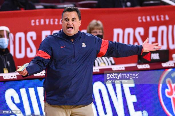 Arizona Wildcats head coach Sean Miller reacts to a call during the college basketball game between the Arizona Wildcats and the USC Trojans on...