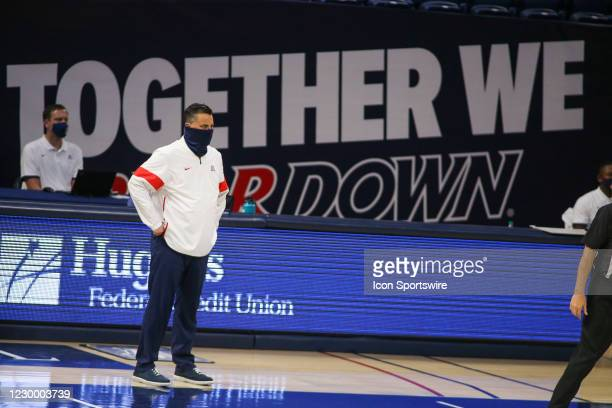 Arizona Wildcats head coach Sean Miller watches the game during a college basketball game between the Northern Arizona Lumberjacks and the Arizona...