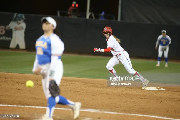 Arizona Wildcats infielder Jessie Harper runs from second base during a college softball game between the UCLA Bruins and the Arizona Wildcats on...