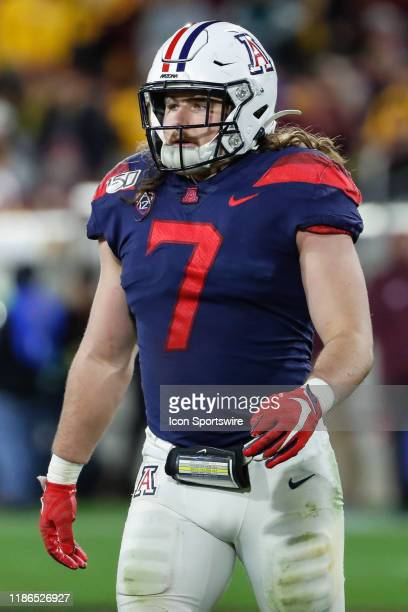 Arizona Wildcats linebacker Colin Schooler looks on during the college football game between the Arizona Wildcats and the Arizona State Sun Devils on...