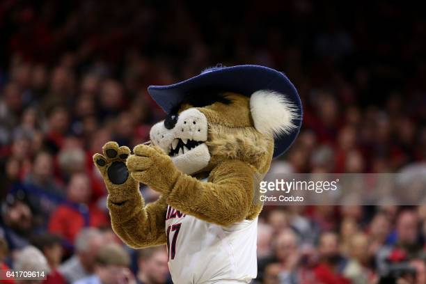 Arizona Wildcats mascot Wilbur T Wildcat performs during the second half of the college basketball game against the Stanford Cardinal at McKale...