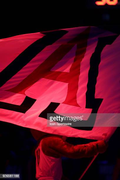 Arizona Wildcats mascot Wilbur T Wildcat waves the flag during a college basketball game between Stanford Cardinal and the Arizona Wildcats on March...