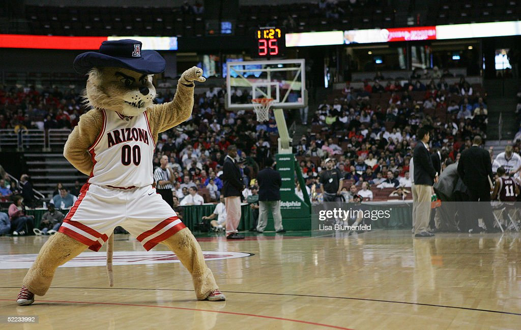 Arizona Wildcats mascot Wilbur the Wildcat performs during the game against the Mississippi State Bulldogs on December 5, 2004 at The Arrowhead Pond in Anaheim, California. The Wildcats defeated the Bulldogs 68-64.