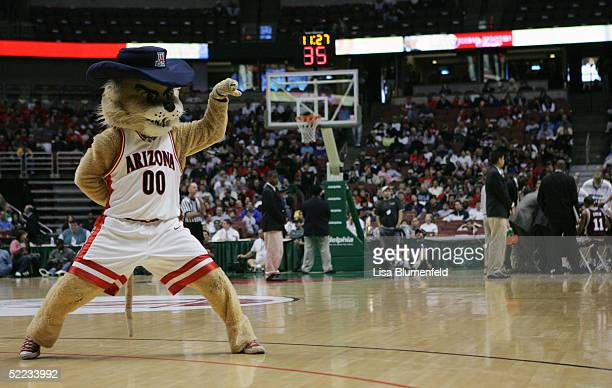 Arizona Wildcats mascot Wilbur the Wildcat performs during the game against the Mississippi State Bulldogs on December 5 2004 at The Arrowhead Pond...