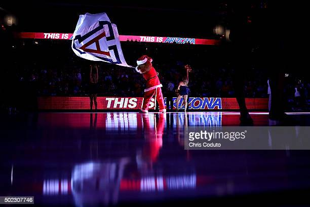 Arizona Wildcats mascot Wilbur the Wildcat waves a giant Arizona flag before the start of the college basketball game against the Long Beach State...