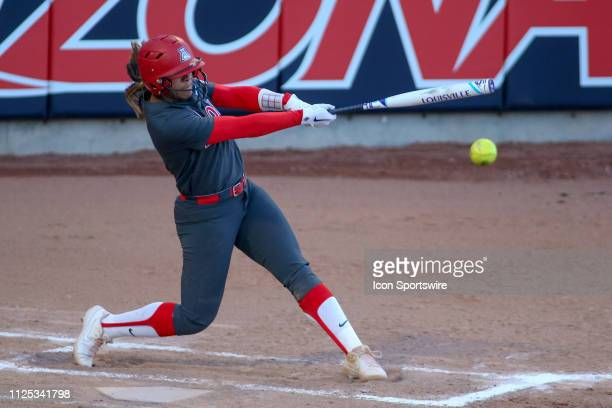 Arizona Wildcats outfielder Alyssa Palomino hits the ball during a college softball game between the Alabama Crimson Tide and the Arizona Wildcats on...