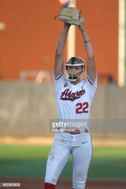 Arizona Wildcats pitcher Alyssa Denham pitches during a college softball game between the Grand Canyon Antelopes and the Arizona Wildcats on May 05...
