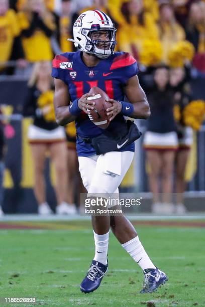 Arizona Wildcats quarterback Khalil Tate drops back to pass during the college football game between the Arizona Wildcats and the Arizona State Sun...