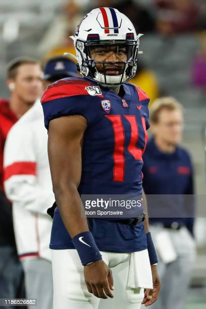 Arizona Wildcats quarterback Khalil Tate looks on before the college football game between the Arizona Wildcats and the Arizona State Sun Devils on...