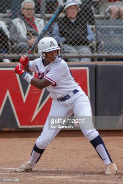 Arizona Wildcats right fielder Aleah Craighton bats during the a college softball game between Colorado State Rams and the Arizona Wildcats during...