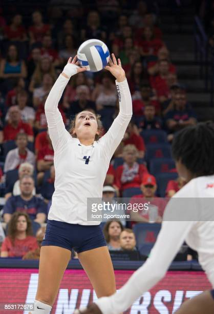 Arizona Wildcats setter Julia Patterson sets the ball up during a college volleyball game between the Washington State Cougars and Arizona Wildcats...